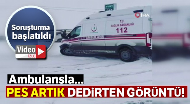 Ambulansla karlı zeminde drift